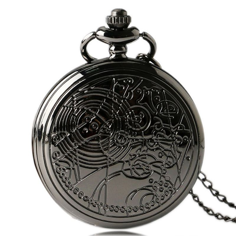 Fashion Large Black Classical Map Rune Star Map Beautifully Carved Pocket Watch