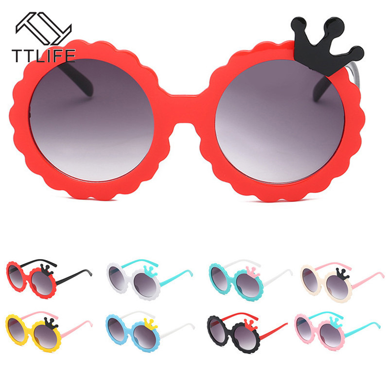 TTLIFE Cute Crown Shape Kids Sunglasses Polarized Child Baby Safety Coating Sun Glasses Round Toddler Sunglass Infant