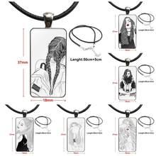 Para crianças de aço cor de vidro cabochão com retângulo em forma pingente gargantilha colar preto e branco linhas menina à venda legal