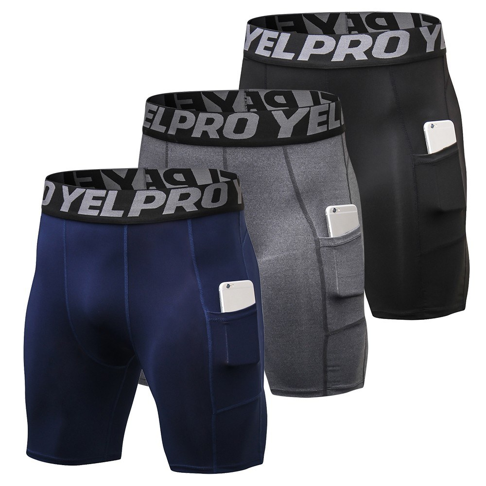 3 Pack Men Compression Running Shorts Sportswear Man Workout Training Gym Shorts Underwear with Pocket Running Shorts Men
