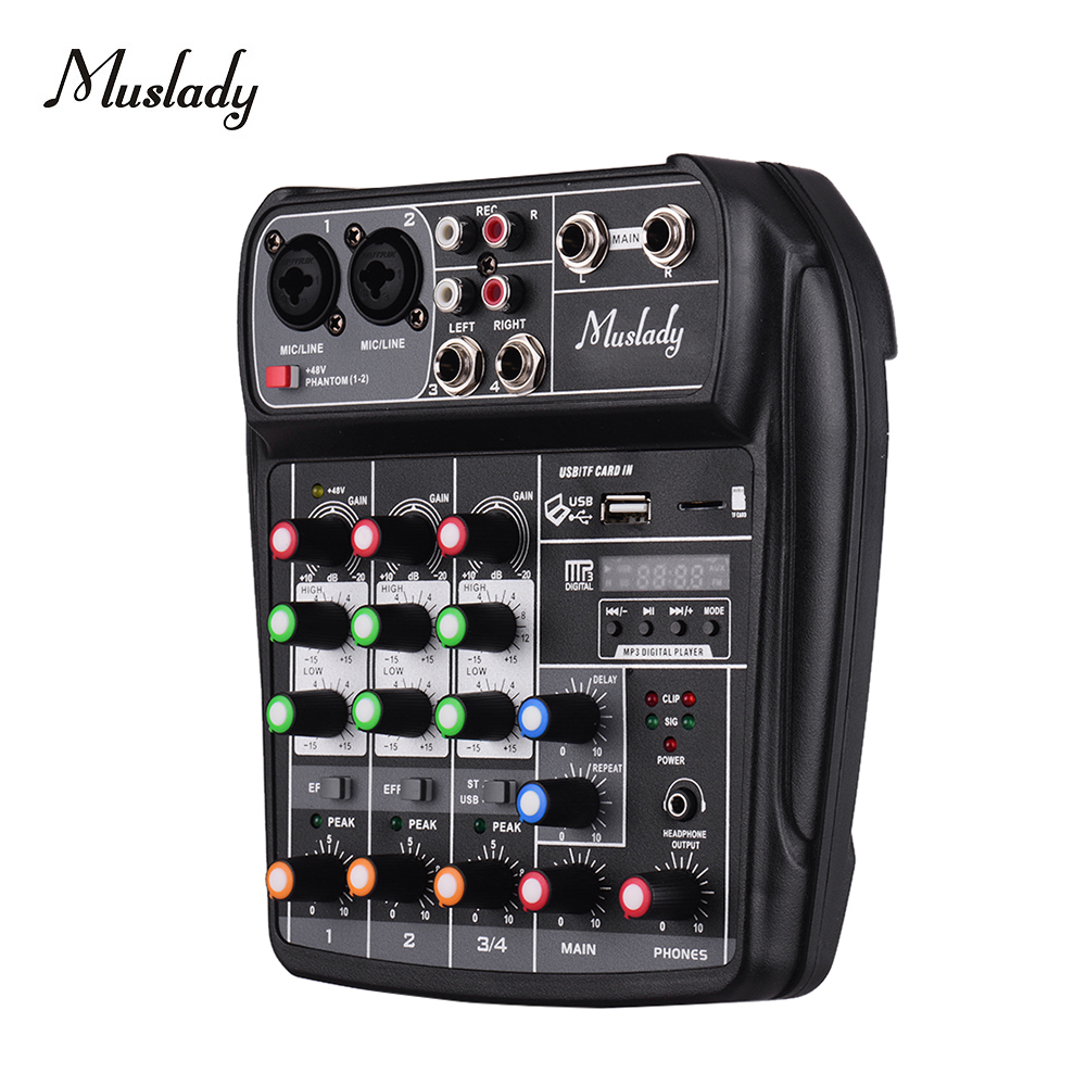 Muslady AI-4 Audio Mixer Compact Sound Card Mixing Console Digital BT MP3 USB Input +48V Phantom Power For Music Recording DJ