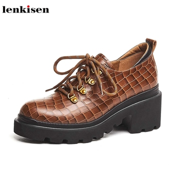Lenkisen fashion preppy style real cow leather print lace up round toe high heels thick bottom metal fasteners women shoes L18