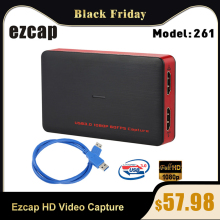 Ezcap USB 3.0 Video HD Gioco Capture 1080P Convertitore Video In Diretta Sreaming Plug and Play HD di Ingresso e in Uscita per XBOX One PS4 Finestre