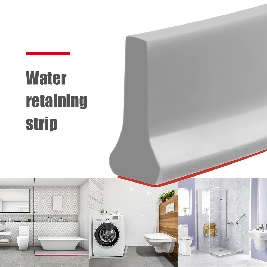 Collapsible Shower Threshold Water Dam Shower Barrier And Retention System Waterproof Silicone Strip For Bathroom Sink Kitchen