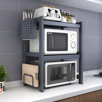 Microwave Shelf Rack 1/ 2 Tiers Kitchen Cabinet Organizer and Storage Rack Expandable Oven Rice Cooker Gadget Tools Organization