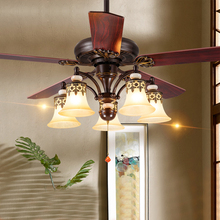 42 52 inch Amercian led ceiling fans with light wooden 5 blades E27 Reverse Forward 132cm 108cm country wire switch