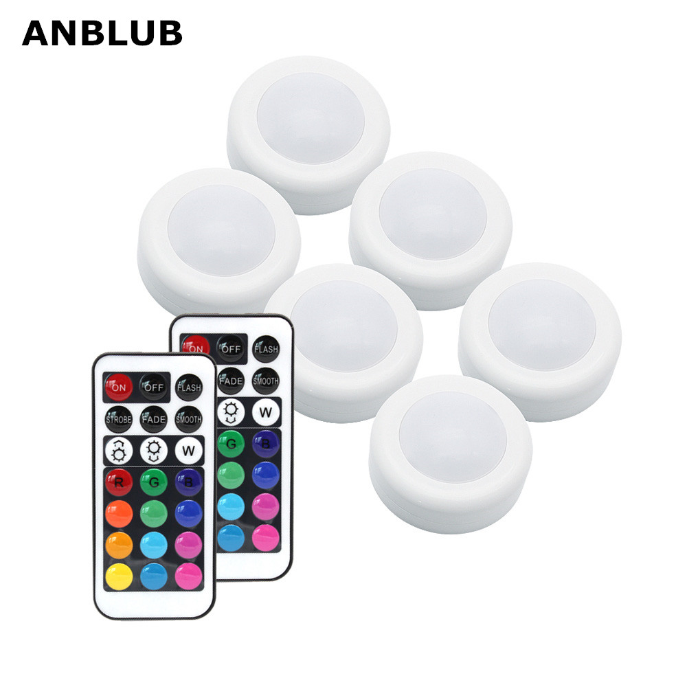 ANBLUB Wireless RGB RGBW LED Puck Light With Remote Control Under Cabinet Closet Light Stick On Lights For Kitchen Wall Wardrobe