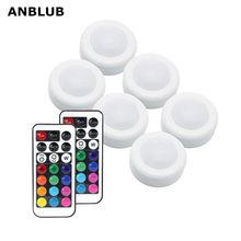 ANBLUB-disco de luz LED RGB RGBW inalámbrico con Control remoto, luces para armario, cocina, armario de pared