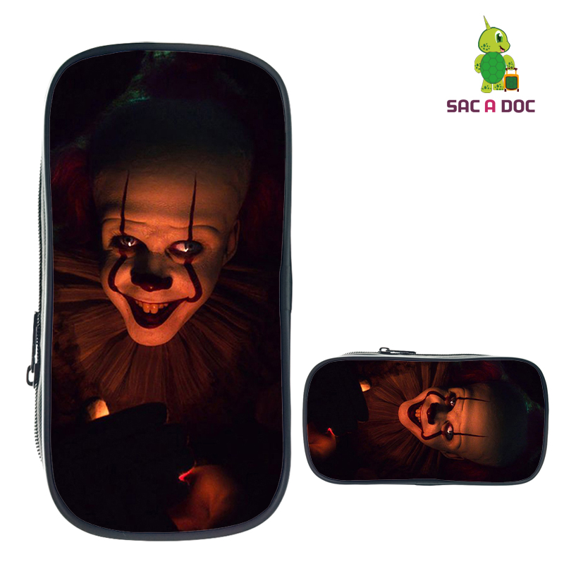 IT Horror Movie Clown Pencil Case For Boys Girls Makeup Bag Stationery Storage Bags Women Men Cosmetic Case Kids School Supplies