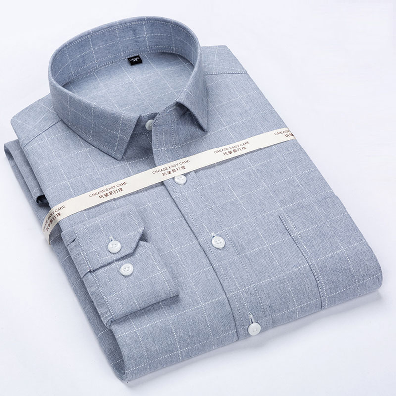 Men's Classic Wrinkle-Resistant Long Sleeve Dress Shirt Patch Chest Pocket Formal Business Standard-fit Plaid Striped Shirts