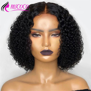 Mscoco Hair Kinky Curly Wig 4x4 Closure Wig Short Lace Front Human Hair Wigs For Women Remy Brazilian Curly Human Hair Wig(China)