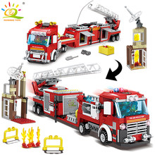 491pcs Fire Ladder Truck Model Building Blocks legoingly City Fireman 2 Figures car Bricks DIY Construction Toys for Children(China)