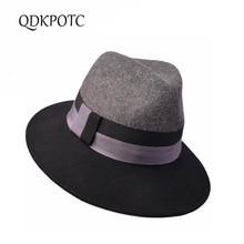 QDKPOTC 2019 Autumn Winter New Women Wool Fedoras Fashion Co
