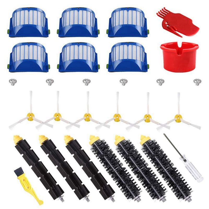 Top Deals Bristle & Flexible Beater Brush & Armed 3 Side Brush & Filters for Irobot Roomba 600 Series 614 620 630 650 660 665 69 Vacuum Cleaner Parts     - title=