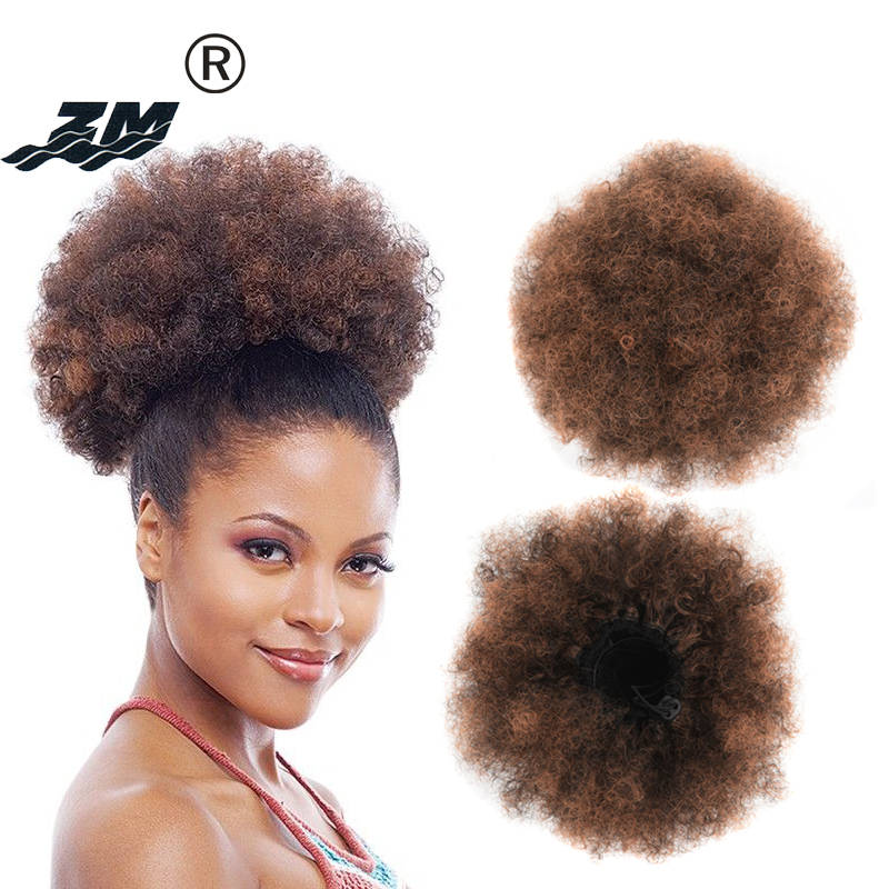 ZM Puff Afro Curly Chignon Wig Drawstring Ponytail Short Afro Kinky Pony Tail Clip In On African Synthetic Hair Bun Hair Pieces
