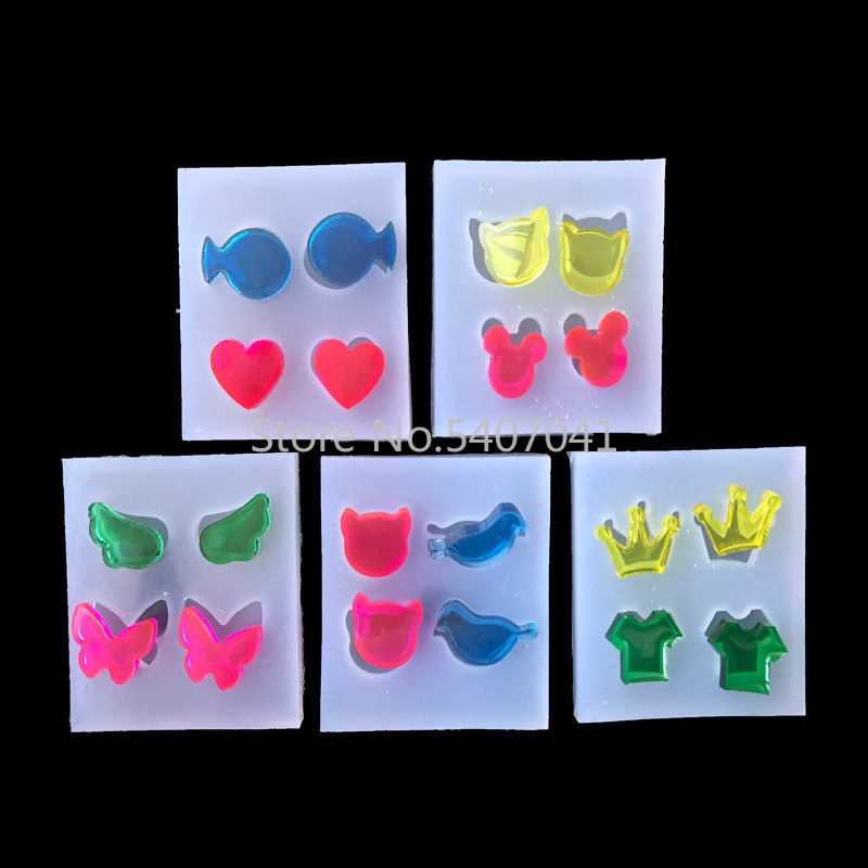 1PC Bear Bird Butterfly Wing Heart Liquid Silicon UV Resin Mold For Making Jewerly Earrings Hair Accessories Jewelry Tools
