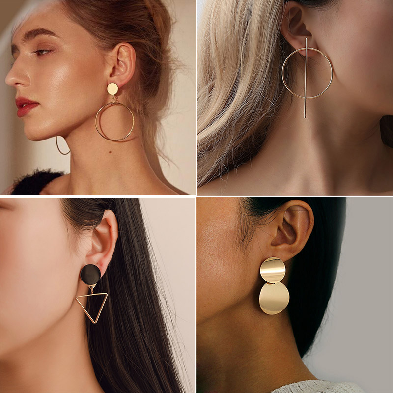 New Fashion Round Dangle Drop Korean Earrings For Women Geometric Round Heart Gold Earring Wedding Jewelry
