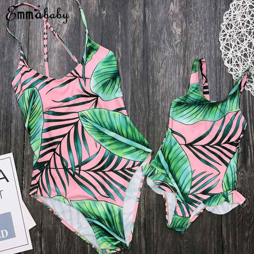 Maillot de bain une pièce assorti pour famille, ensemble une pièce imprimé feuilles à volants, Monokini, Bikini