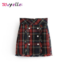Plaid Skirt A Line Back Zipper Tweed Plaid Mini Skirt Vintage Faux Pearl Fringe Tassel Ladies Skirts Casual High Waist Skirt