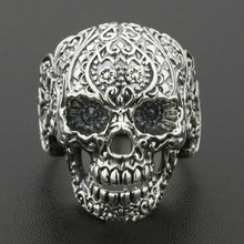 Solid 925 Sterling Silver Skull Ring Mens Biker Rock Punk Style  US Size 8 to 11 925 sterling silver king kong ring mens biker punk ape king ring us size 7 5 10