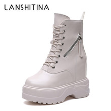 купить 2019 Autumn High Platform Boots 11CM High Heels Women Thick Sole Ankle Shoes Leather Wedge Sneakers Keep Warm Winter Fur Boots онлайн