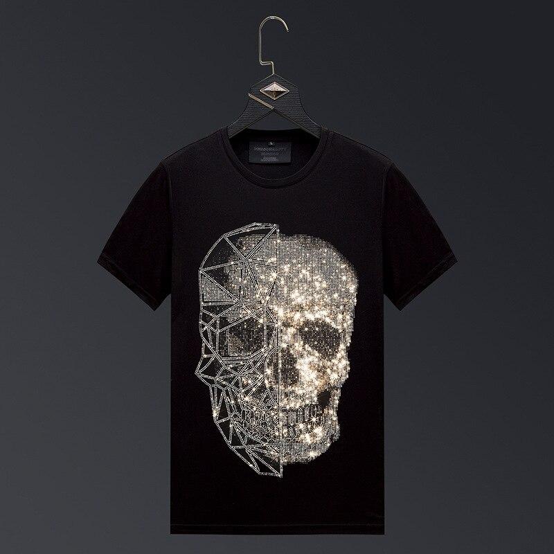 Plus Size 2020 Fashion Skull Rhinestones T Shirts Men Brand Short Sleeve Man Streetwear O Neck Slim Tshirts Camiseta Hombre 6XL