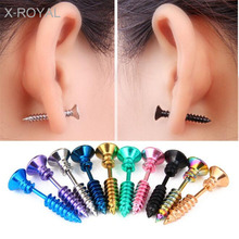 X-ROYAL Punk Fashion Gold Black Color Stainless Steel Nail Screw Stud Earring for Women Men Helix Ear Piercings Jewelry