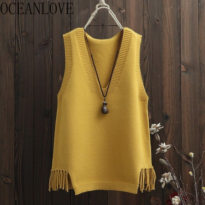 OCEANLOVE 2020 Autumn Winter Solid Sweaters Women Sleeveless Tassel V Neck Casual Vest Korean Knitted All Match Pullovers 13063