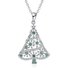Ina Li decorated Christmas series green zircon necklace Christmas tree shape necklace 18 inches.(China)