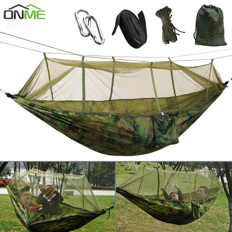 ONME Portable Mosquito Net Camping Hammock Outdoor Garden Travel Swing Parachute Fabric Hang Bed Hammock 260*140cm Drop Shipping