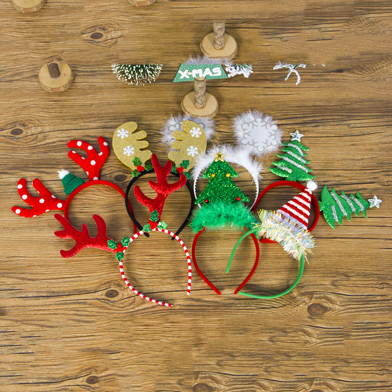 12 pcs/Lot Christmas Headband Elk Tree Snowflake Xmas Hair Band Clasp Headwear Head Hoop for Girl Gift