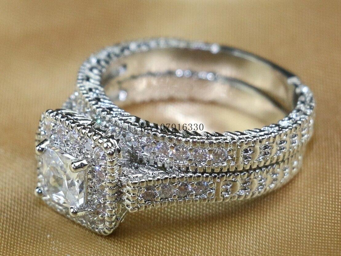 Zuee Clear Cz Bridal Sets 10KT White Gold Filled Vrouwen Wedding Ring Band Geschenken Sz 6,7, 8,9 - 6