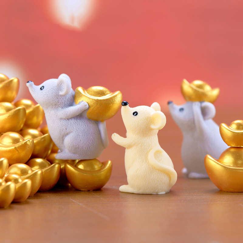 Decoración de Año Nuevo Chino 2020, lingotes de mascota dinero ratón, adornos, figurita de recuerdo, modelo artesanal, regalo, accesorios de jardín en miniatura