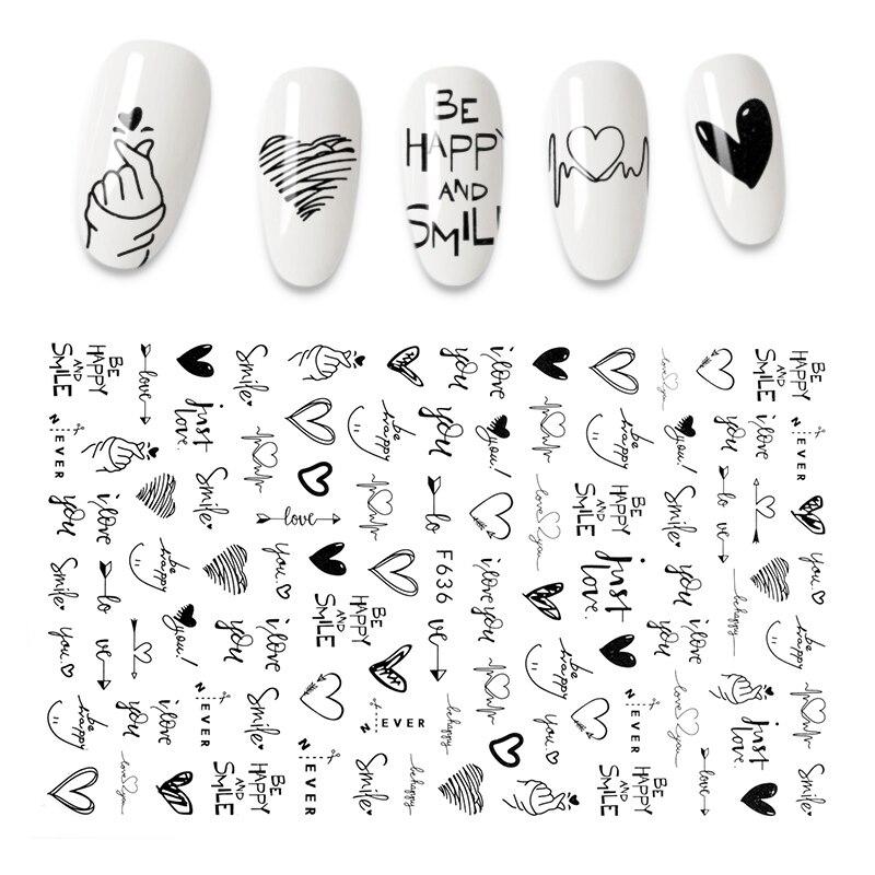 """Новый 3D виниловые наклейки на стену с рисунком """"Прохладный английские буквы наклейки для ногтей Фольга «любящее сердце» дизайн аксессуары для ногтей мода наклейка для маникюра Стикеры и наклейки    АлиЭкспресс - Для красоты и здоровья"""