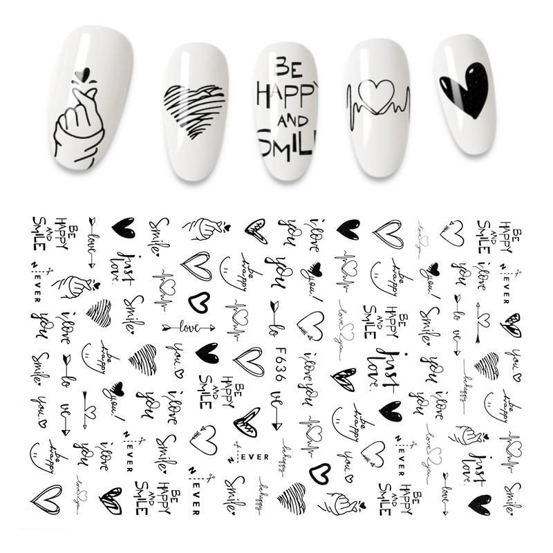 Autocollants pour ongles effet 3D, différents styles, nouveau, cool, anglais, lettre, feuille, amour, cœur, conception, accessoires, mode, manucure,  