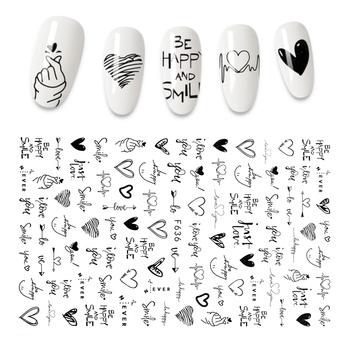 Nowa naklejka do paznokci 3D fajna angielska litera naklejki na paznokcie folia miłość z designem serca akcesoria do paznokci moda Manicure naklejka tanie i dobre opinie EZOP CN (pochodzenie) 12 3*7 6CM MJZH002 Naklejka naklejka Nail sticker 1PCS Sticker Decal