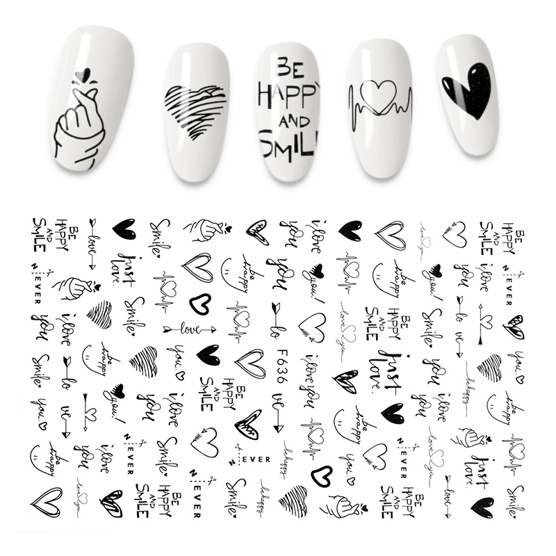 The New 3D Nail Sticker Cool English Letter stickers for nail Foil Love Heart Design Nails Accessories Fashion Manicure Sticker