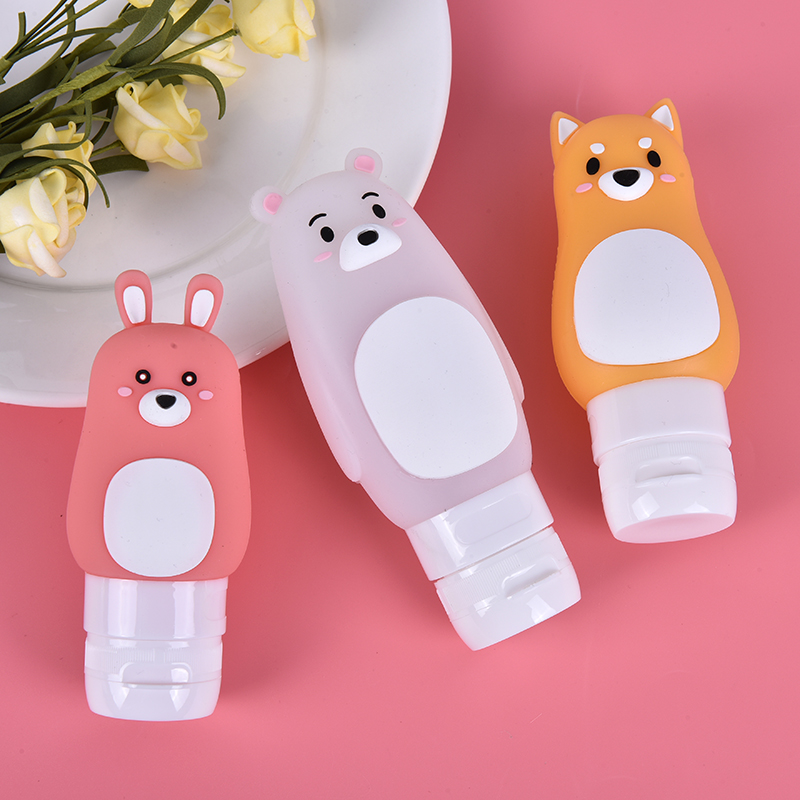 Hot Cartoon Animal Refillable Bottle Portable Bear Rabbit Dog Silicone Shampoo Shower Gel Lotion Storage Bottle Travel Organizer