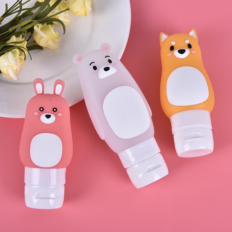 Hot Cartoon Animal Refillable Bottle Portable Bear Rabbit Dog Silicone Shampoo Shower Gel Lotion Storage Bottle Travel Organizer