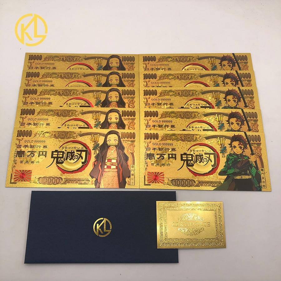 Note 10 шт. аниме рассекающий демонов Kimetsu No Yaiba Kamado Tanjirou Prop аксессуар золотые банкноты для фанатов Рождественский подарок