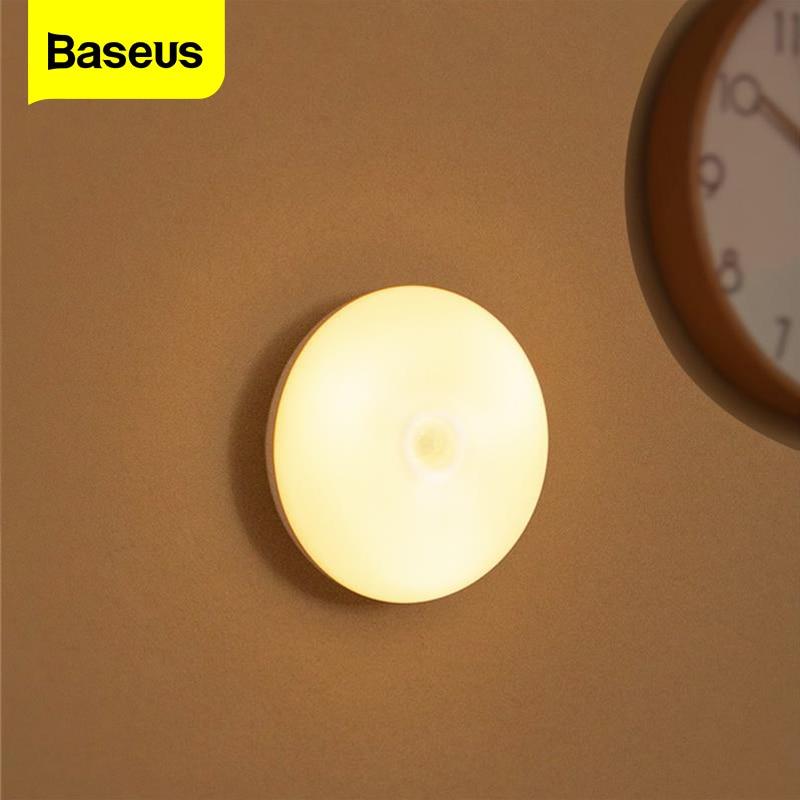 Baseus-veilleuse LED, à Induction humaine, avec détecteur de mouvement PIR, veilleuse, idéale pour le bureau, la chambre à coucher, la chambre à coucher