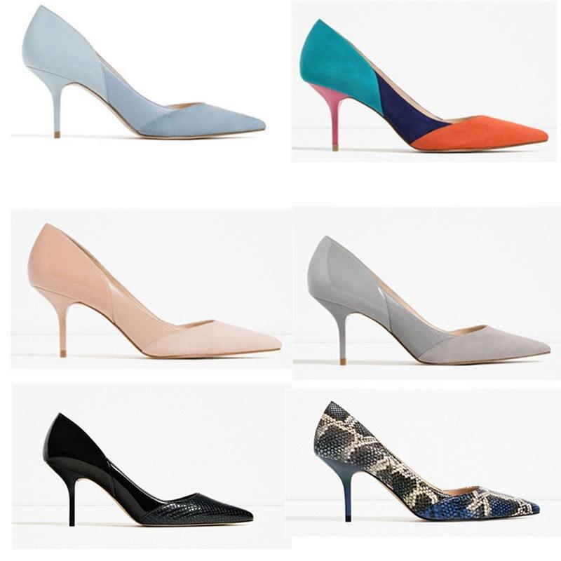 HKXN 2021 mode cuir PU femmes pompes Sexy impression talons hauts chaussures bout pointu mules haute fête mariage pompe livraison directe