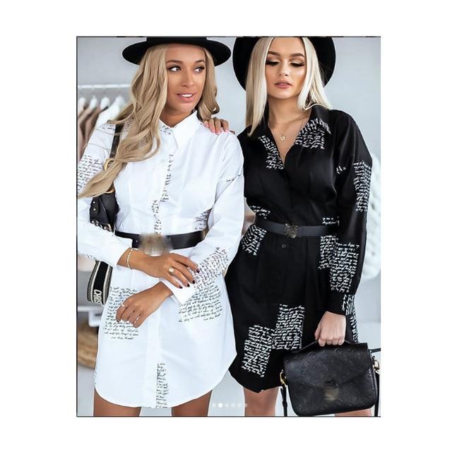Women Long Sleeve V neck Loose Blouse New Femal Ladies Sexy Pus Size Dress Elegant Party Dress Clothing Office Lady Shirts Dress 2
