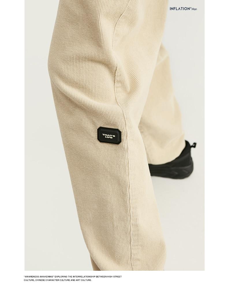 INFLATION Design Mens Winter Corduroy Jogger Pants Pure Color Loose Overalls Men Jogger Corduroy Pants Elastic Waist 93345W 6