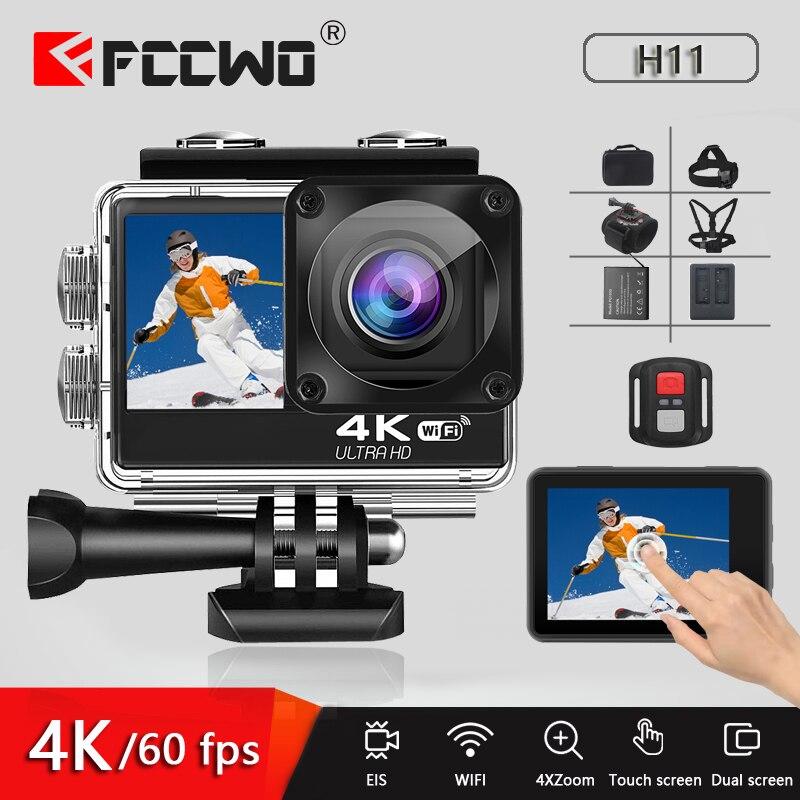 Cámara de Acción H11 4K 60FPS 24MP 2,0 LCD táctil EIS doble pantalla con WiFi a prueba de agua Control remoto 4X Zoom casco Go Sports pro Came