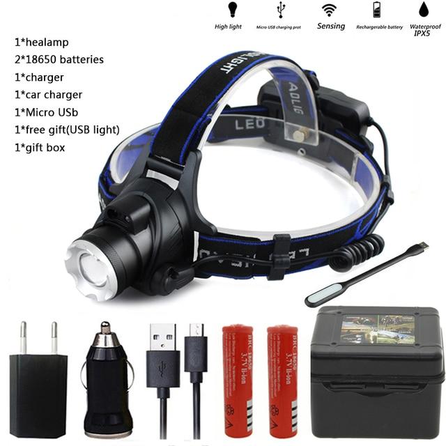 Adjustable 10000LM XML Headlamp Headlight LED Rechargeable USB+Battery free