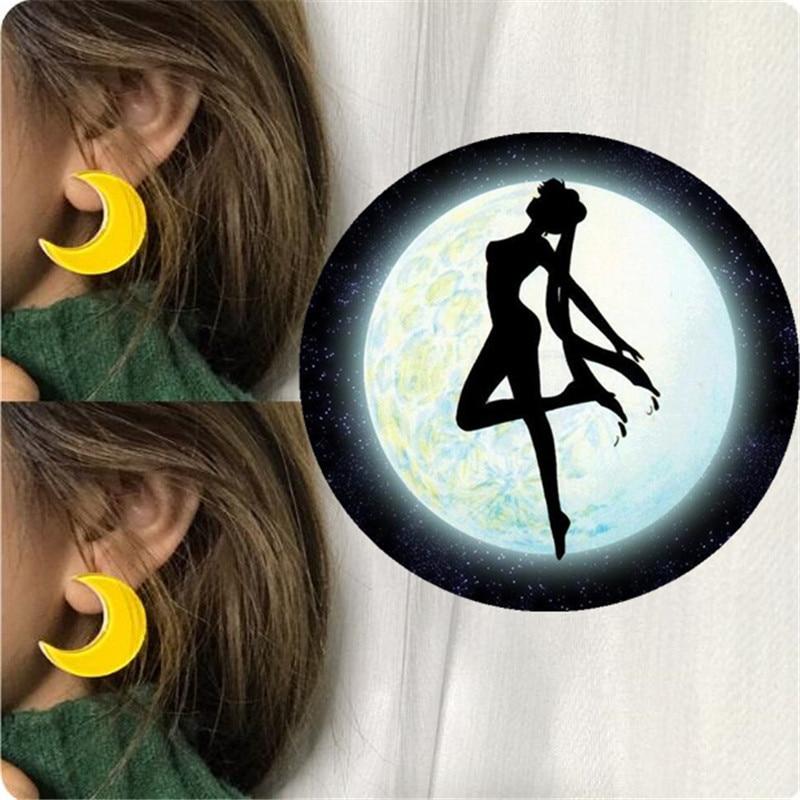 Anime Sailor Moon Earrings Girl Cosplay Costumes Accessories Harajuku Women Yellow Moon Star Ear Stud