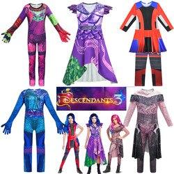 Criança comic con descendentes 3 mal cosplay traje halloween meninas vilão evie disfarce macacão mal princesa audrey fantasiar-se