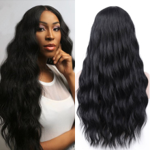 FREEWOMAN Black Synthetic Wigs for Black Women Long Wavy Wig