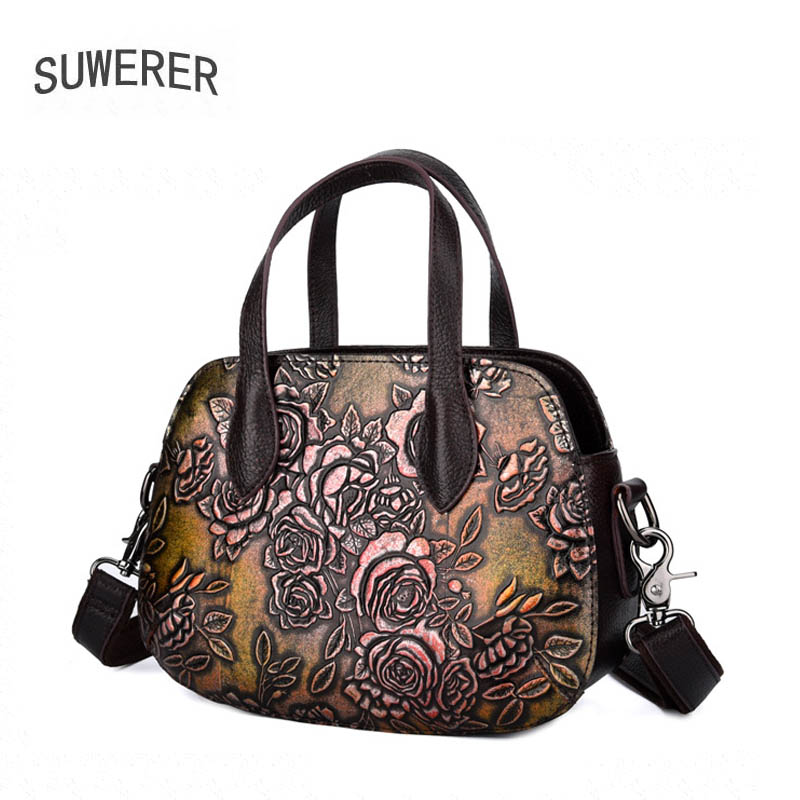 Women Genuine Leather bag  2020 autumn and winter new leather print handbag European and American fashion shoulder bag